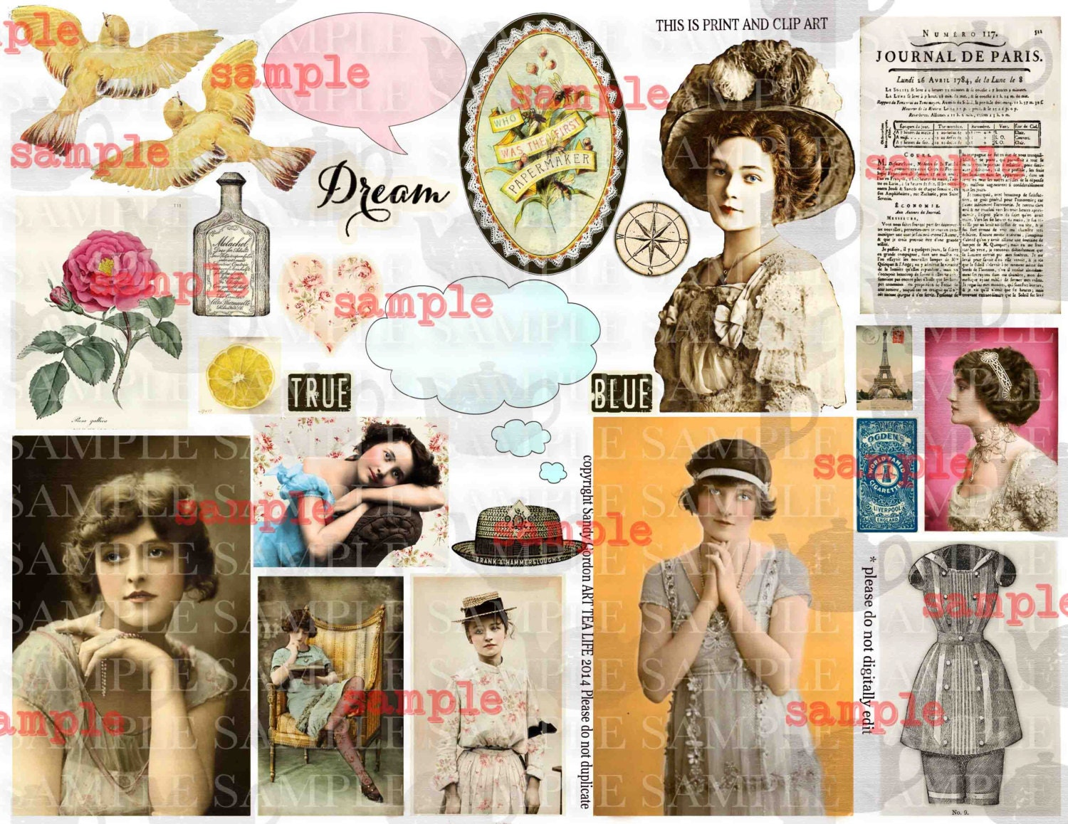 ART TEA LIFE Paris Flapper Biba Girls Vintage Photo Collage