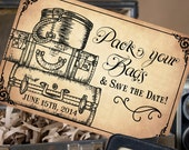 Pack Your Bags Vintage Postcard Save the Date - Design Fee