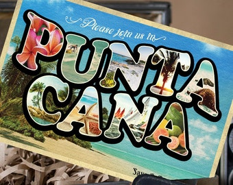 Vintage Large Letter Postcard Save the Date (Punta Cana, Dominican Republic) - Design Fee