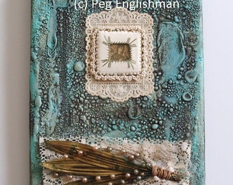 """A mother's love-original mixed media painting with antique prayer card, 5"""" x 7"""" canvas, ready to hang"""