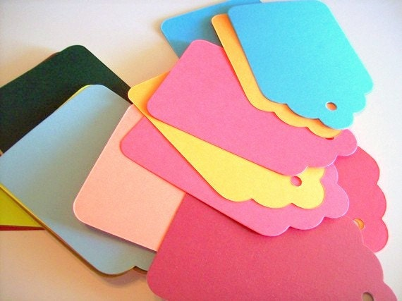 gift tags, 3.5x4.5, large multi colored set of 50