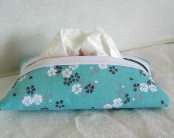Floral Tissue Holder Aqua Grey Tissue Cozy Pocket Tissue Case