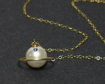 Gold Mini Saturn Necklace, Hana Yori Dango, Custom Made, Gift for Girlfriend, Gold Filled, Pearl Necklace, Handmade, Boys Over Flowers