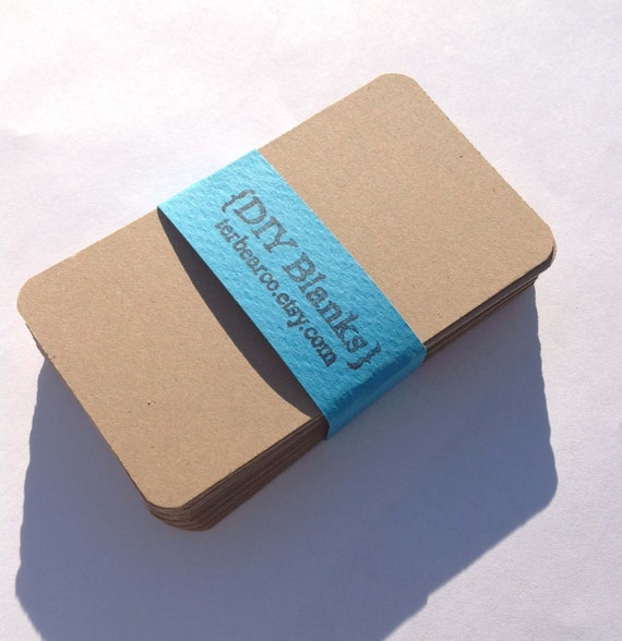 50 DIY Brown Kraft rounded corners Business Card Blanks for stamping