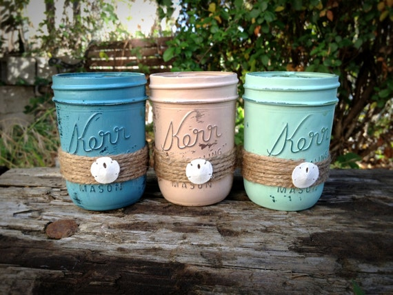 Painted mason jars jar centerpiece beach decor