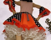 Polka Dot Dress Orange Black OOAK Halloween Costume Crinoline Dress and Cuffs M L XL Adult Geek Spooky Party Dress SALE