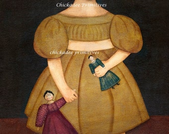 Primitive Folk Art Girl with Dolls Portrait