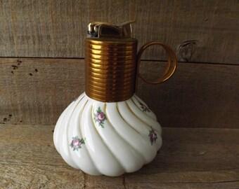 Vintage Evans Table Lighter, Coffee Table Lighter, Purple Rose Lighter, Tobacciana Collector