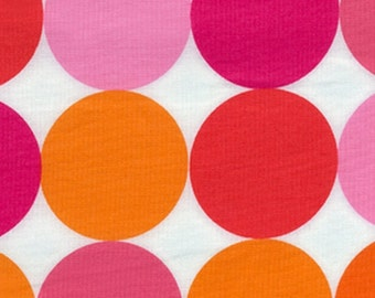 Michael Miller Disco Dot Flamingo Fabric- REMNANT Size 22 Inches by 44 Inches
