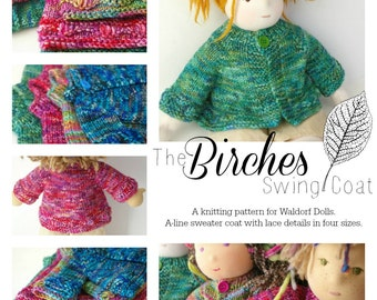 Knitting Pattern for Waldorf Doll Sweater : The Birches Swing Coat (Digital PDF for Four Sizes)
