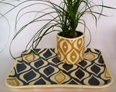 Ceramic Tray, mod dot and eye pattern in slate grey and shades of yellow