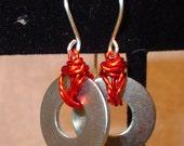 Metal Earrings with Orange Wire