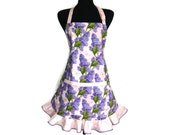 Lilacs and Butterflies Kitchen Apron for women ,  Purple and Pink with Ruffle , Retro Kitchen Decor