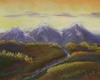 Mountain Sunrise OOAK Pastel Painting Drawing by Martha Horman