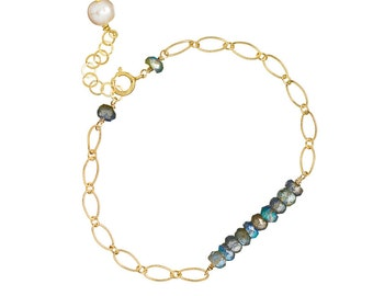The Gemstone Bar Bracelet in 14k GF and Labradorite