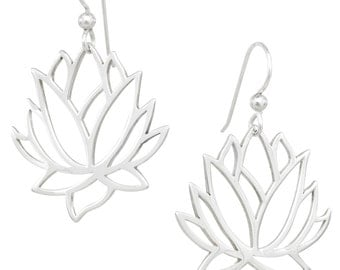 Lotus Flower Earrings, Sterling Silver, Yoga Inspired, Mother's Day Gifts, Yoga Gifts