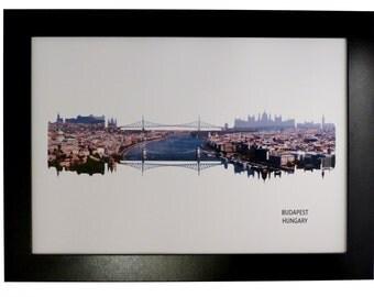 Budapest, Hungary Skyline Print with aerial city photo