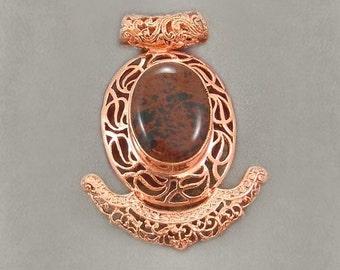 Sale: Mahogany Jasper and Copper Slide Pendant