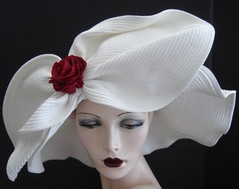 White Large Bow With Red Rose Summer Hat On Sale