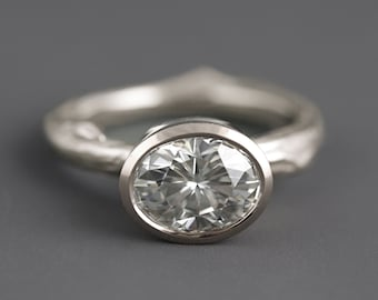 Modern 14k White Gold Twig Engagement Ring with Huge Oval Moissanite - White Diamond Alternative Branch Ring for Her with Bezel Set Stone