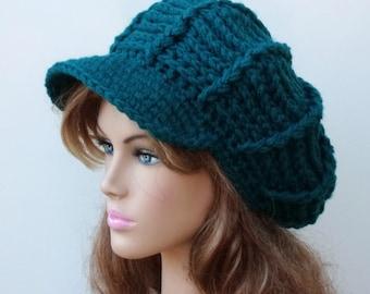 Newsboy hat, Teal blue Visor cap, Slouchy Beanie hat, womens Newsboy cap, winter beanie with bill, woman beanie hat, winter hat with visor