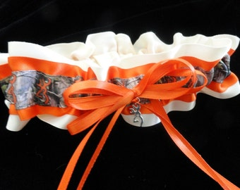 Hunter Orange and Ivory Browning Buck Satin Camo Garter with Browning Deer Charm-Camoflauge-Hunter-Browning Deer Logo-Country