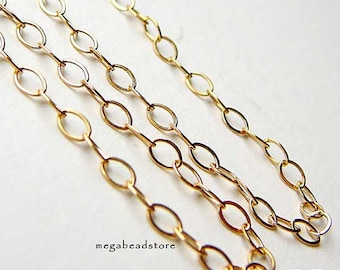 6 feet 3mm 14K Gold Filled Loose Chain Flatten Rings 3.2mm x 2.1mm CH20