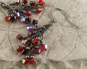 Red Hot Mama  gunmetal finish Swarovski Crystal cascade french hook earrings