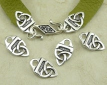 4 TierraCast Celtic Leather Closer Ends > Strap Tip Celtic Knot Irish - Fine Silver Plated LEAD FREE Pewter - I ship Internationally 3176