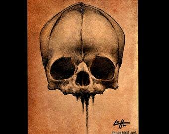 "Print 8x10"" - Old Skull - Skulls Skeleton Dark Art Horror Bones Anatomy Gothic Haunted Taxidermy Pop Art Lowbrow Art Zombie Cute Scary"