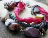 Deer bracelet, Sari silk ribbon Multistrand Mookaite jasper Indonesian glass Artisan fimo clay - Sleepy Fawn
