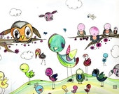 original illustration little creatures kids children fantasy funny friends bird nursery