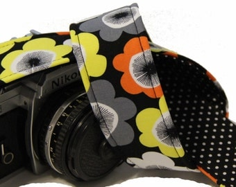 SLR, DSLR Camera Strap - Bright Buds with polka dot lining by Howard Avenue