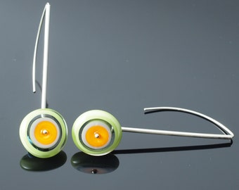 Long Circle Earrings in Orange, Lime, and Gray