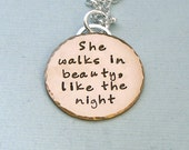 She walks in beauty - Gold Filled Pendant on Sterling Silver Chain - Lord Byron Quote - Poetry Necklace