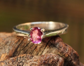 Sterling silver ring with faceted pink tourmaline gemstone