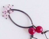 Playful Tube Cluster Earrings - Ruby Jade and Pink Rose Quartz