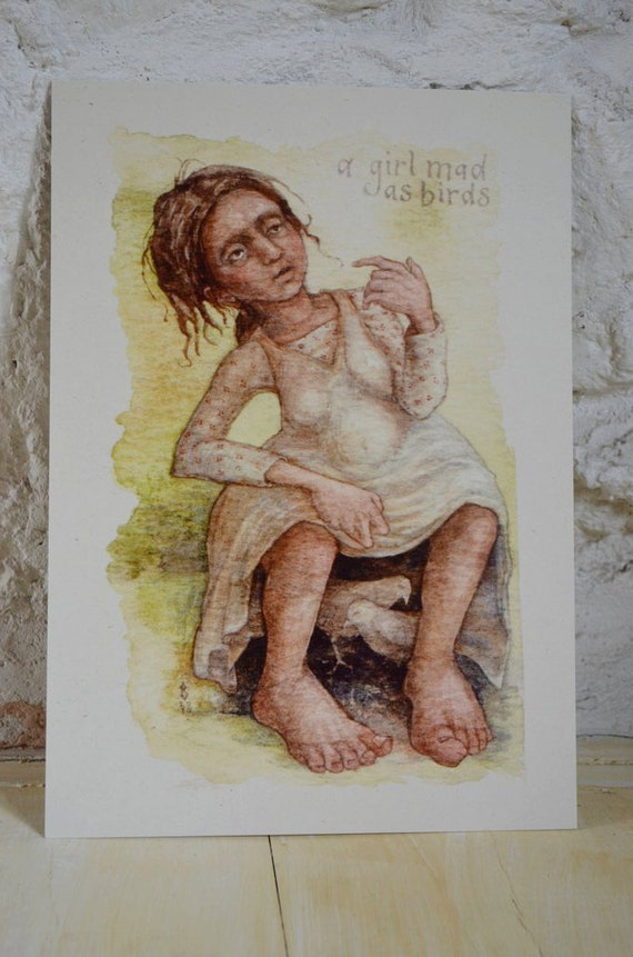A Girl Mad As Birds - A4 print on cream card
