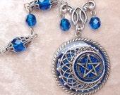 Blue Pentacle Necklace- Glitter, Resin, Antiqued Silver, Fantasy