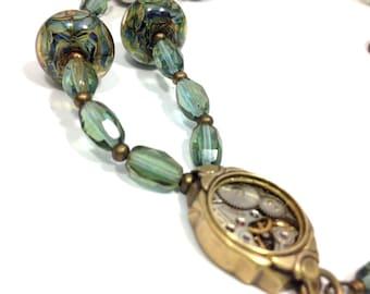 Aqua Celsian Steampunk Lampwork Jewel  ... Steampunk Lampwork Victorian One of a Kind Necklace