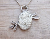 Organic Leaf Necklace - Ceramic, metal, solder