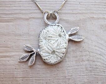 Organic Leaf Necklace - Ceramic, metal, solder