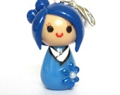 Mini Kokeshi Doll Charm - Light Blue Pearl Flowers