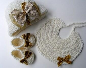 Vintage Downton Abbey Inspired Crochet Hat Pattern  - w/ Bow Crochet Booties Shoe  - Baby Bib Pattern No. 72
