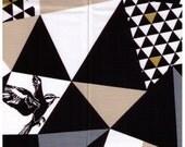 HALF YARD Kokka Echino Decoro Spring 2014 - Mountain Triangles Black with Gold Glitter - JG99900-903D Glitter Triangles and Birds - Sateen