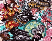 HALF YARD - Anime Geisha Warrior - TEAL colorway - Sakura, Castle, Tori Shrine, Dragon, Cranes - Manga Tomodachi