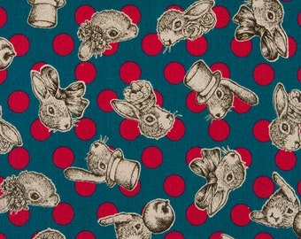 HALF YARD Joli Pomme Rabbit Teal with Berry Red Dots - Bunny, Animal Silloutte Cameos - Cotton Linen Fabric - Cosmo Textile From Japan