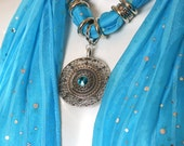 Scarf With Charms Pendant Bright Turquoise Scarf Necklace