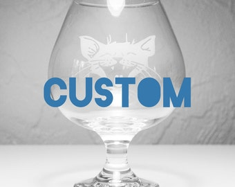 CUSTOM Brandy Snifter - 22oz Craft Beer Glass - Choose your etched design