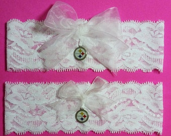 Pittsburgh Steelers Wedding Garter Set with charms  White Lace Handmade   Keepsake and Toss